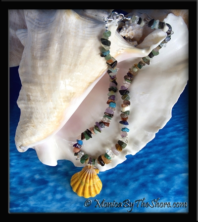 """""""Earth and Ocean Candy"""" Hawaiian Sunrise Shell and Gem Stone Necklace"""