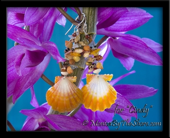 Fantasy Shells Sunrise Shell & Aquamarine with Seashells Custom Designed Earrings
