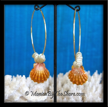 Fire Orange Sunrise Shells & Pearly Iridescent Trochus Shells on Gold Hoop Earrings