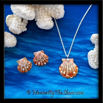 Fire Red/Orange & White Hawaiian Sunrise Shells Necklace & Post Earrings Set