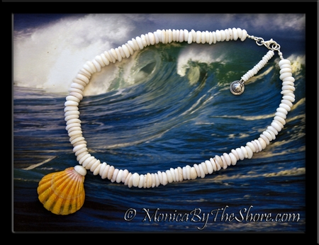 Giant Hawaiian Sunrise Shell on Chunky Puka Shells Necklace