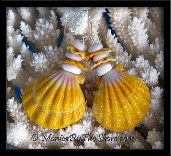 Giant Hawaiian Sunrise Shell, Puka Shells and Sunrise Chips Longwire Earrings