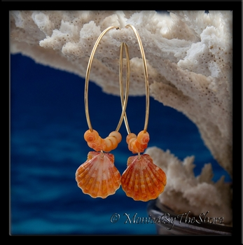 Gold Hoop Orange Sunrise Shell & Tahitian Mongo Seashell Earrings
