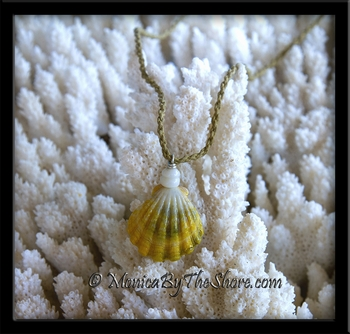 "Lime Green & Lemon Yellow ""Country Style"" Sunrise Shell & Puka Shells Twisted Cord Necklace"