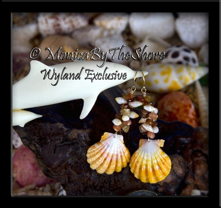 Hawaii Sunrise Shells, Fire Opal Gemstones & Laiki Seashell Gold Earrings