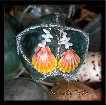 Hawaiian Sunrise Shell and Arutua Shells Sterling Silver Earring