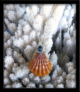 Hawaiian Sunrise Shell and Tahitian Black Pearl Silver Necklace