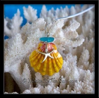 Hawaiian Sunrise Shell, Deep Aqua Seaglass & Silver Starfish Necklace