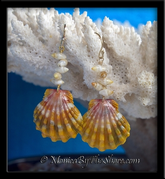 Hawaiian Sunrise Shell & Tahitian Arutura Shells Gold Earrings