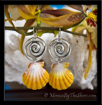 Hawaiian Sunrise Shells & Silver Bali Wave Earrings