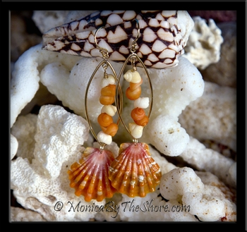 Juicy Pink & Orange Sunrise Shells & Tahitian Mongo Shell Gold Oval Hoop Earrings