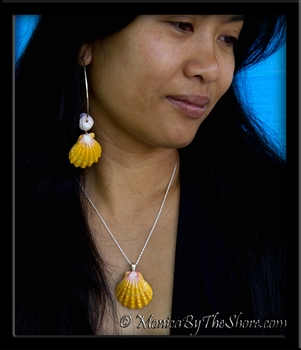 Jumbo Classic Hawaiian Sunrise Shell and Puka Shells Big Hoop Earrings