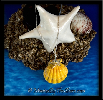 Jumbo Hawaiian Sunrise Shell with Silver Starfish Pendant on Rope Chain Necklace