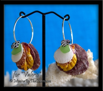 Ke Iki Beach Sunrise Shell, Seashells, & Sea Glass Silver Hoop Earrings