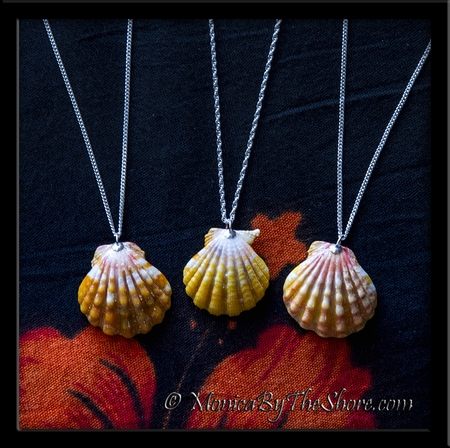 Lemon Yellow Hawaiian Sunrise Shell Silver Rope Chain Necklace