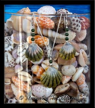 Moonrise Shell Hawaiian Green Sunrise Shell with Jade Necklace