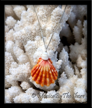 Orange Hawaiian Sunrise Shell and North Shore Puka Shells Silver Necklace