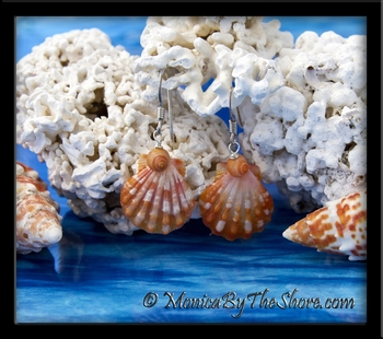 Orange & White Hawaiian Sunrise Shells & Tahitian Mongo Shell Earrings
