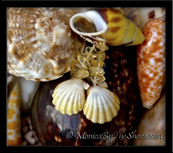 Pale Yellow Albino Sunrise Shell & Citrine Gem Stone Earrings