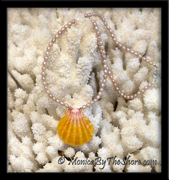 Pink Pearls & Classic Hawaiian Sunrise Shell Necklace