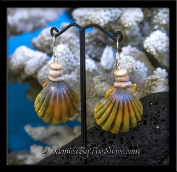 """Rainbow Moonrise"" Sunrise Shell & Marbled Puka Shells Earrings"