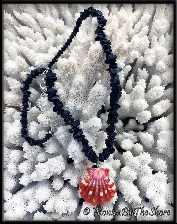 Red Hawaiian Sunrise Shell on Black Tourmaline Gemstones Necklace