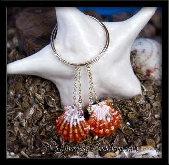 Red Hawaiian Sunrise Shells Swarovski Crystals Gold Hoop Earrings
