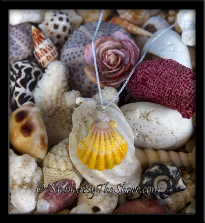 Rose Quartz Gemstone and Yellow Pink White Hawaiian Sunrise Shell Sterling Silver Necklace