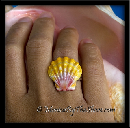 Soft Classic Colors Hawaiian Sunrise Shell Sterling Silver Ring