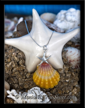 Starfish Charm and Hawaiian Sunrise Shell Sterling Silver Necklace