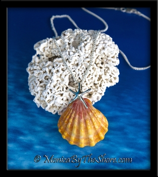 Sterling Silver Starfish and Jumbo Hawaiian Sunrise Shell Necklace