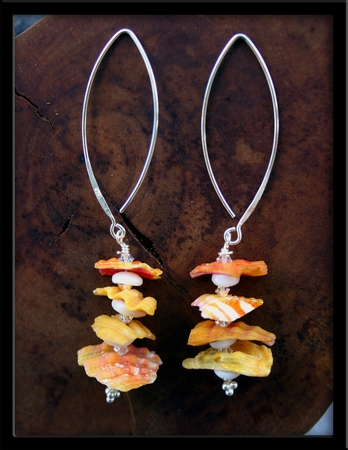 Sunrise Shell Chips & Swarovski Crystals Long Wire Sterling Silver Earrings