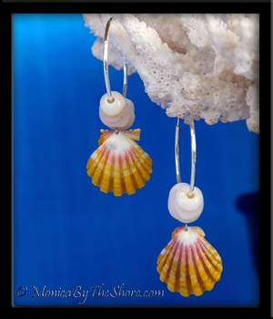 Sunrise Shell & Puka Shells Silver Hoop Earrings