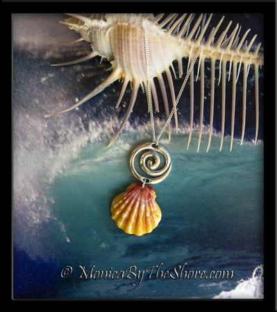 Surfer Wave Hawaiian Sunrise Shell Silver Pendant Necklace