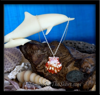 Sweet Red & White Hawaiian Sunrise Shell Silver Rope Chain Necklace