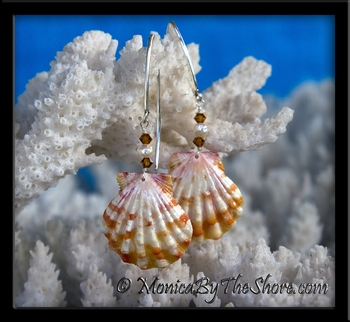 Tiger Stripe White and Orange Hawaiian Sunrise Shell Pearl and Swarovski Crystal Longwire Earrings