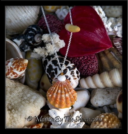 """""""Town and Country"""" Style Bright Orange Hawaiian Sunrise Shell Puka Shell and Crystal Necklace"""