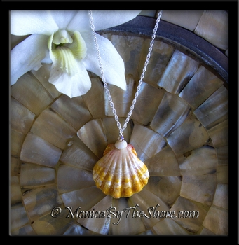 """Town & Country Style"" Hawaiian Sunrise Shell Puka Shell & Swarovski Crystal Necklace"
