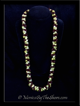 Antique Koa Wood Seeds & Light Green Trochus Shell Lei Necklace