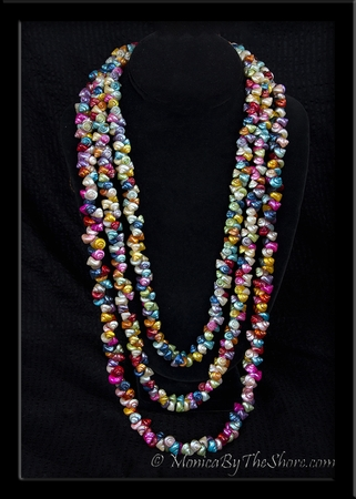 Vintage Multi Color 3 Strand Shell Lei Necklace