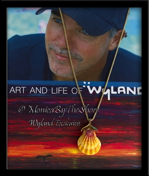 Wyland & MonciaByTheShore Collaboration 14K Gold Whale Tail & Hawaiian Sunrise Shell
