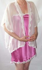 Anna White Luxury Handmade Silk Chiffon Reading Bridal Jacket w Lace Trim - Made in USA by Pampour Couture