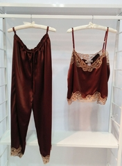 100% Silk Luxury Camisole, Pj Pant, or French Short with Calais Lace - Chocolate, Navy or Sky Blue - Made in USA/NYC by Pampour Couture