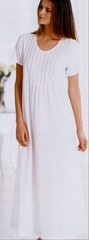 Lindsay Comfy Short Sleeve Cotton Knit Pintuck Long Nightgown  - Made in Italy
