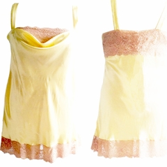 Emma Luxury Bespoke Silk Chemise with Luxury French Lace Trim Made in USA by Pampour Couture