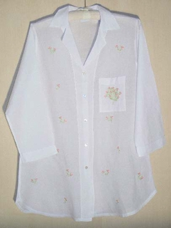 Delicate Pink Flower White Cotton Batiste Night Shirt - Hand Embroidered