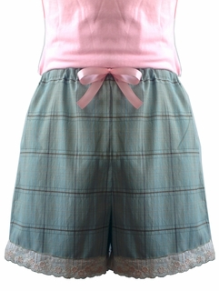 Luxury Handmade French Short Teal Plaid with Floral Embroidery Trim - Made in USA by Pampour Couture