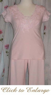 Frou frou's Embelished Lace Cotton Knit Pj Set - Pink