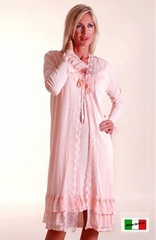 Greta Cotton Knit Robe & Nightgown Set - Made in Italy