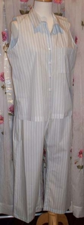 Shirting Stripe Ankle Length Capri Pant Cotton PJ/Pajama